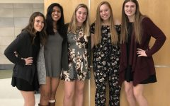 Seniors Brooke Callanan, Erielle Amboy, Ailey Riddick, Seana Phillips, and Meagan McCadden pose before the NHS Induction ceremony held at Abington High School auditorium on November 14, 2019.