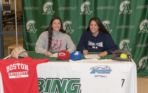 Abington High School seniors Lauren Keleher & Corin Mahan signed their National Letters of Intent Monday November 18, 2019, to attend Boston University (Keleher) and Assumption College (Mahan) and play Softball.