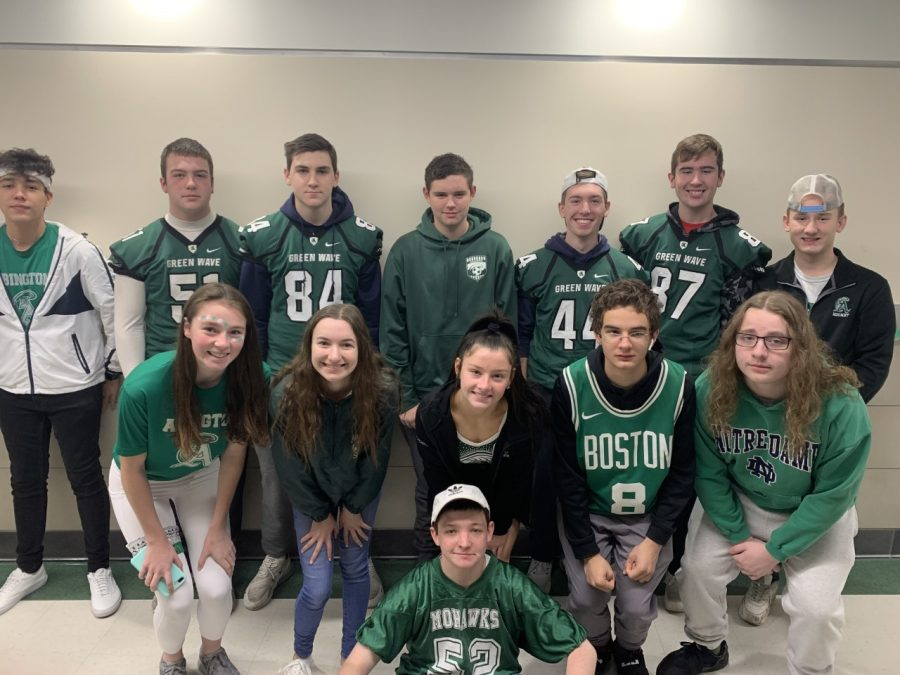 Bubba Gendreau (front). Emily Coulsey, Kaylee Donaher, Carolyn Doherty, Neeko DiMascio, James Choukas (middle row, left to right). Luciano DaSilva, Brady Cristoforo, Matty D'Ambrosio, Colin Dunlop, Roman Cipullo, Kevin Connors, and Ryan DiNocco (back row, left to right).