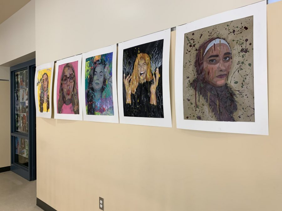 Students in Mrs. Poiriers art class created self-portraits currently displayed in the 2nd floor hallway.