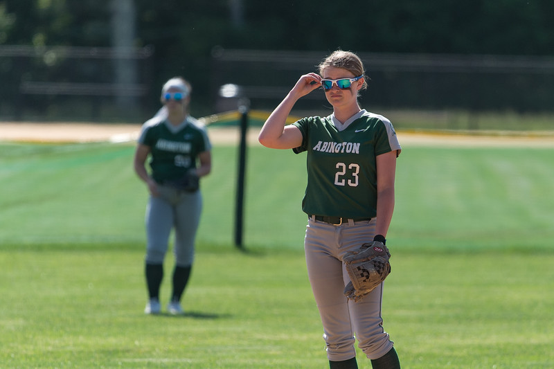 Abington High School shortstop Victoria Seppala, a junior, adjusts for the sunlight's glare during a game in 2019.