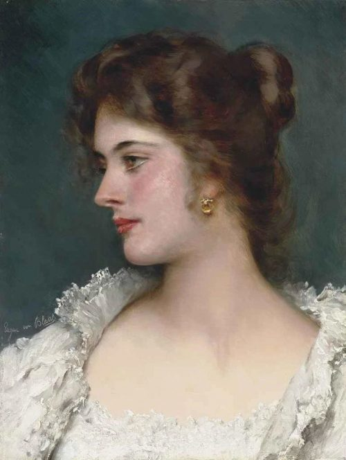 Many artists, like Eugene de Blaas, painted portraits of what was considered to be classic beauty in the 19th century, as seen in this oil painting of