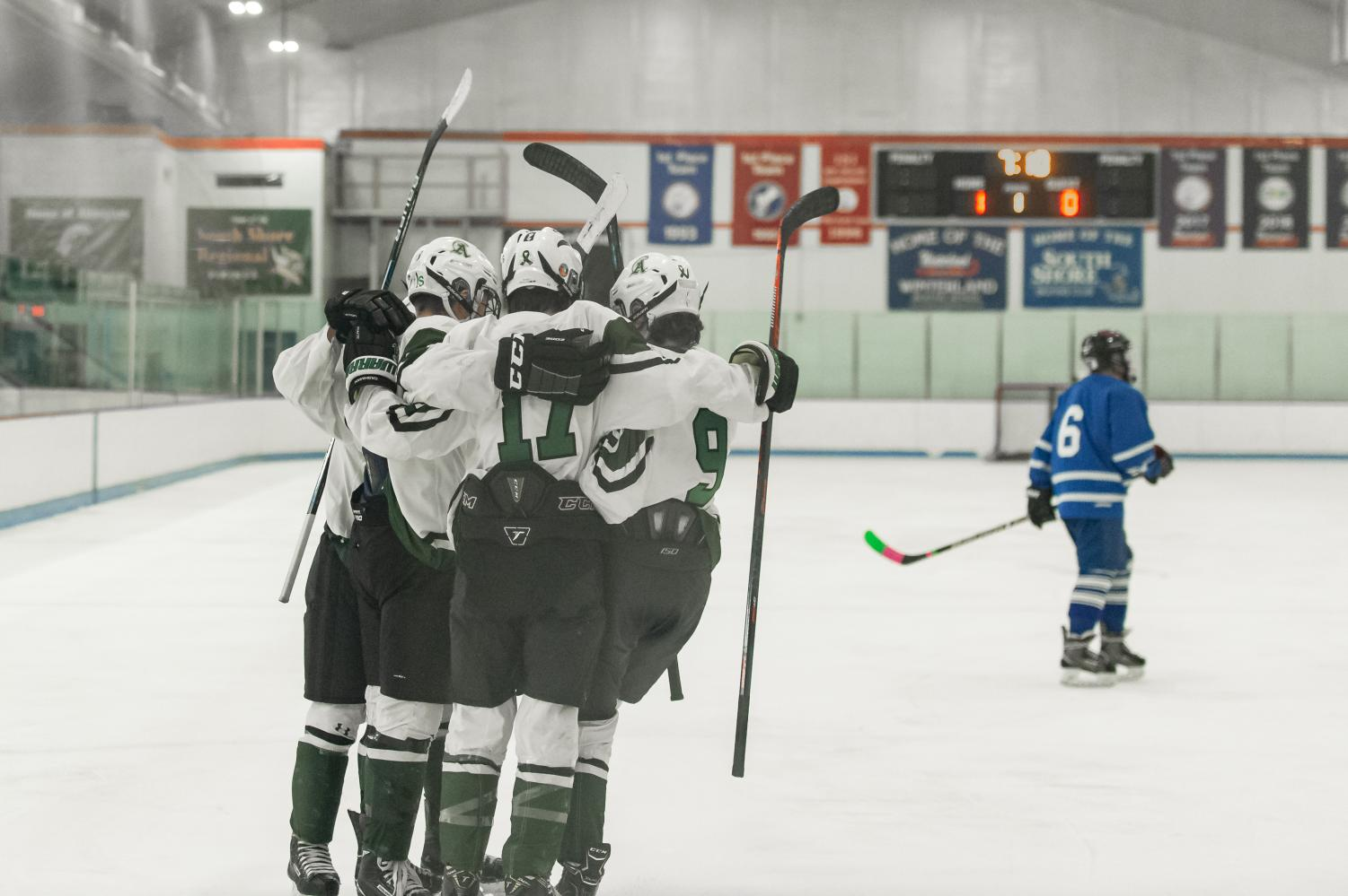 Abington celebrates a goal during the game against Sacred Heart on January 20, 2020 at the Rockland Rink.