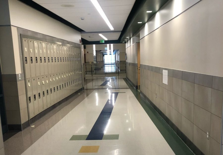 Sticky notes line the hallway lockers at Abington High School on Friday, January 31, 2020, as seen on the second floor English wing.