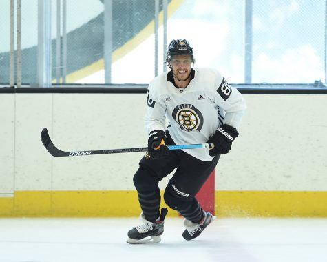 Bruins right winger David Pastrnak at practice on September 13, 2019 at Warrior Ice Arena in Brighton, MA