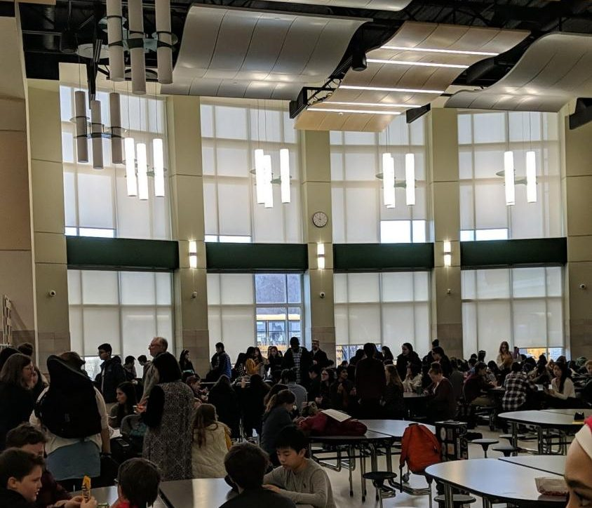 Students wait in the Abington High School cafeteria for the SEMSBA auditions to begin on Saturday, February 1, 2020.