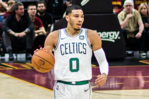 Jayson Tatum of the Boston Celtics in a game against the Cleveland Cavaliers in Cleveland on October 6, 2018