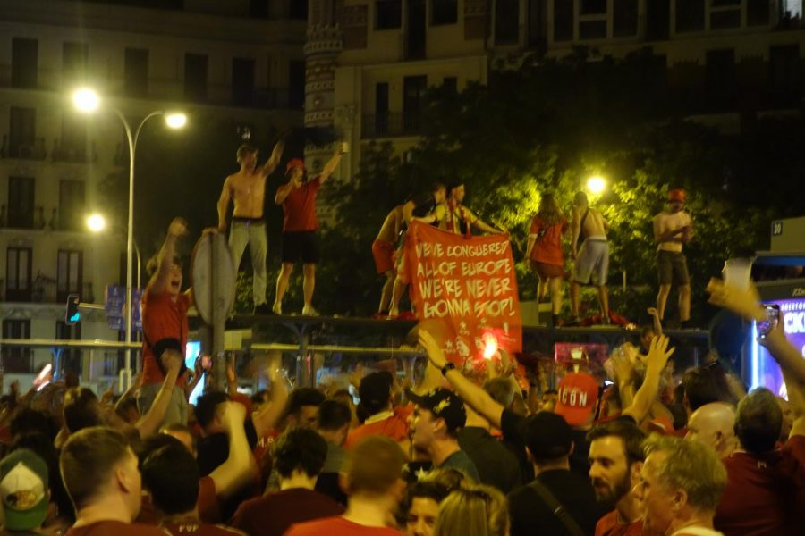 Liverpool fans celebrating the 2018-2019 Champions League title in Goya, Madrid.