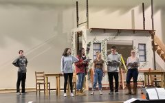 Abington High School's drama cast practices after school on Tuesday, February 11, 2020. On the far left is junior Brian Tolan. Left to right are juniors Isabelle Assaf, Abbdy Nordeen,  and Carly Mentis, senior Bobby Molloy, and junior Kathryn Genest practicing lines together.