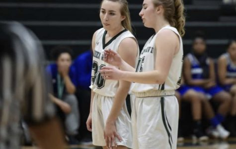 On January 23, 2109, from left to right Gracie O'Connell and Isabella O'Connell talking behind the three point line during a free throw shot at Abington High School gymnasium