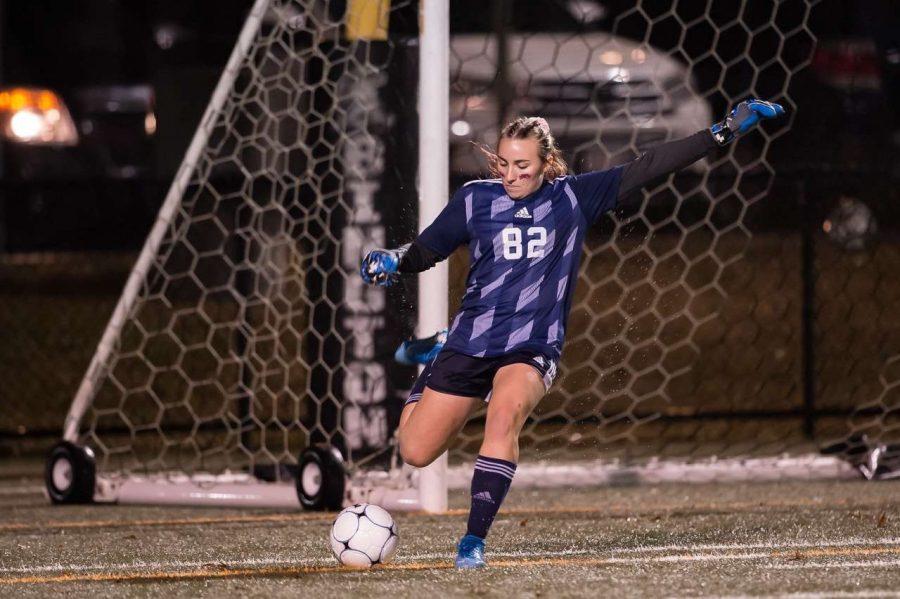 On October 30th, 2019, junior goalie Isabelle OConnell kicking the ball at Abington High School on senior night for the Abington Girls soccer team