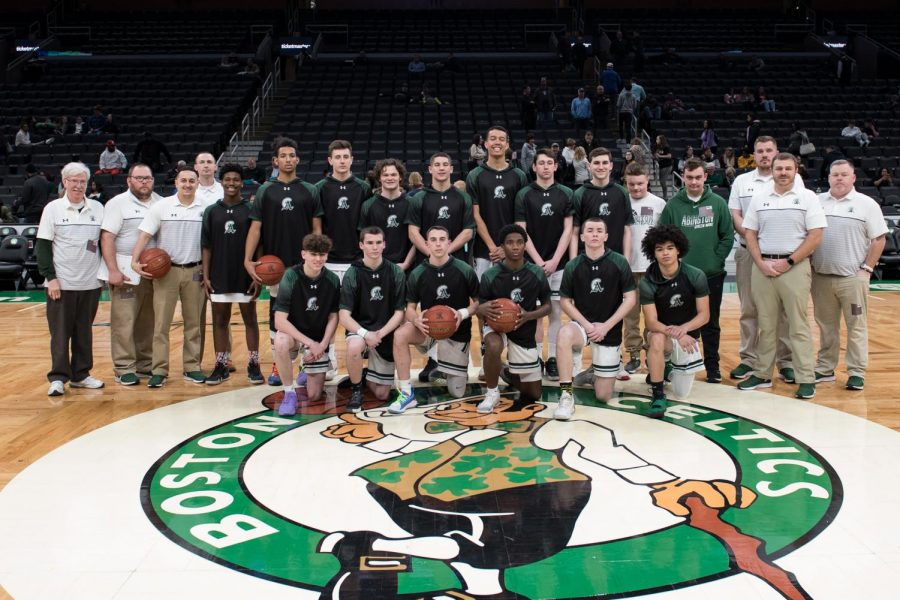 The Abington Boys Varsity Basketball team at TD garden in Boston on March 10, 2020.