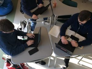 Students in Learning Centers at Abington High School often use their laptops and digital devices for homework, research, and checking news, as seen on March 12, 2020.