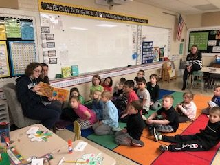 (Left to right), Abington High School freshman students on the ABC (Anti-Bullying Club) Amaya Turner and Ellie Lindo read to elementary school students at Beaver Brook on Friday, March 6, 2020.