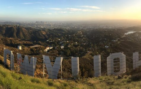 Taken from atop Mt. Lee showing the back of the Hollywood Sign. From left to right, the view includes the Griffith Observatory, downtown Los Angeles, Hollywoodland subdivision (near/below), the sprawl of Los Angeles, Lake Hollywood. Taken on January 6, 2019.