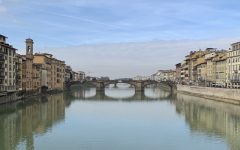 Students at Abington High School, along with four chaperones, visit the Arno River in Florence, Italy on February 17, 2020