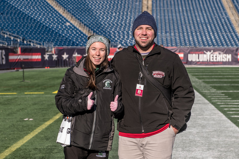 Abington+High+School+athletic+trainer+Ms.+Alicia+Reid+stands+with+Bridgewater+State+University%27s+student+trainer+Dave+at+Gillette+Stadium+for+the+Abington+football+game+on+December+7%2C+2019.