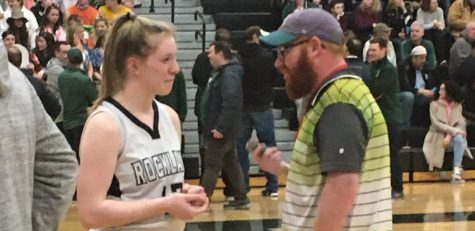 The Enterprise sports editor and writer Chris McDaniel interviews Rockland's Caroline Elie after a win over Archbishop Williams in this year's DIII South Final on Friday, March 6