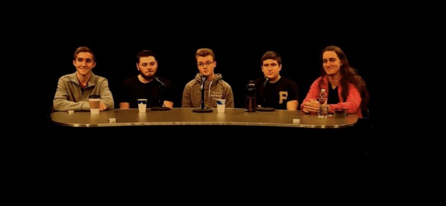 Abington High School students from left to right, Derek Tirrell, Matt Lyons, Aaron Johnson, Andrew Roy, and John Mueller participate in an Intern Roundtable discussion in the Abington CAM studio on Thursday, March 12, 2020.