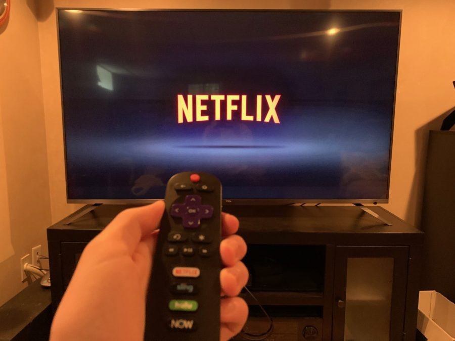 Derek+Tirrell+starting+up+Netflix+using+a+Roku+remote+at+his+home+in+Abington+Massachusetts+on+Thursday+May+7+2020++