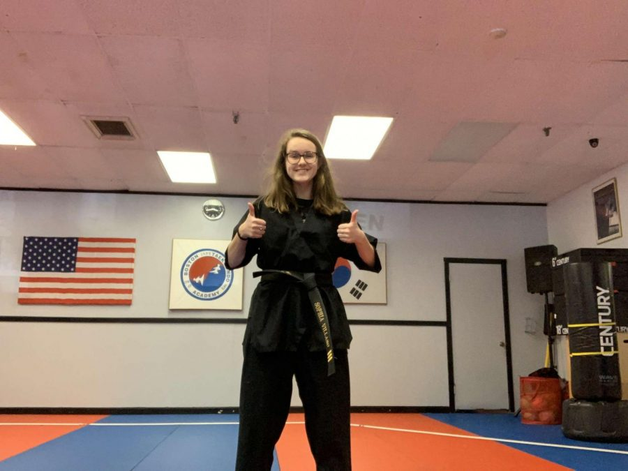 Sophia+Villano+preparing+to+virtually+stream+a+lesson+at+the+Boston+Taekwondo+dojo%2C+in+Abington+Massachusetts%2C++on+Thursday%2C+May+7%2C+2020