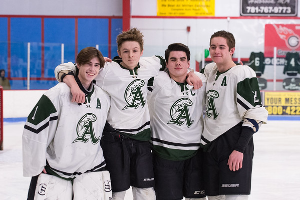 Abington Hockey seniors (left to right) Drew Wilson, Steve Pizzi, Joe McCarthy, and Colin McDonald on senior night at the Rockland Rink on February 5, 2019.