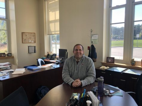 Mr. Bourn in his office at Abington High School on October 6, 2020