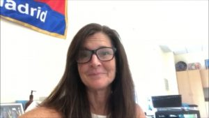 AMS Spanish teacher Dianna Flaherty in her classroom giving her honest reaction to coming back to work