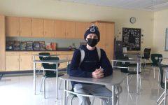 Abington High School senior James Foley in his English class on Tuesday, January 12, 2021.