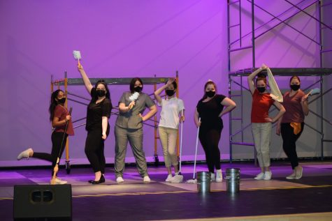 AHS's Drama Students pose during their rehearsal of WORKING on March 17, 2021 the Abington Middle-High School's Auditorium.