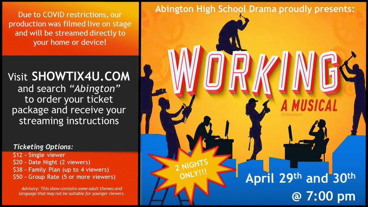 Abington Drama club presents the musical WORKING on April 29-30. Due to the COVID-19 pandemic, the musical was filmed.
