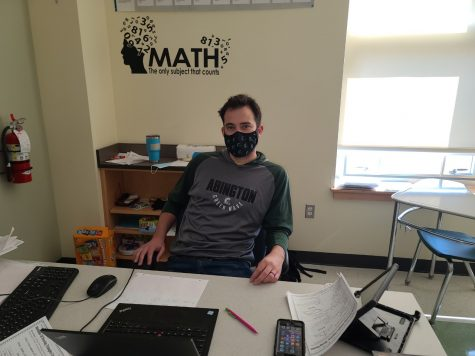Abington High School long-term substitute math teacher Mr. Michael Caseley in this picture Mr. Caseley in seen in Room 1215 during Bridge Block B during a Microsoft Teams meeting on March 19, 2021.