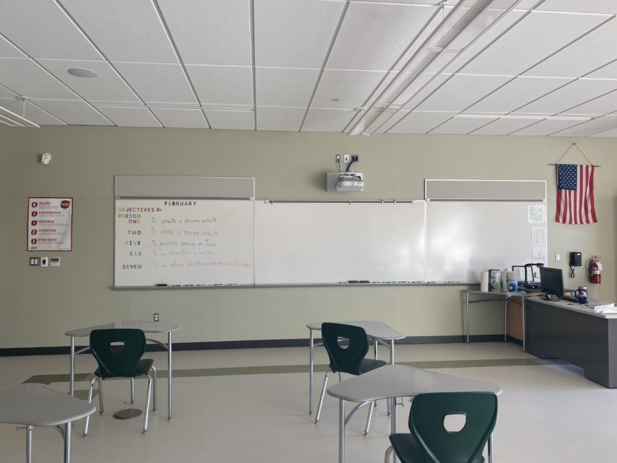 This room near the second floor rotunda belongs to the only computer science and web development teacher at Abington High.