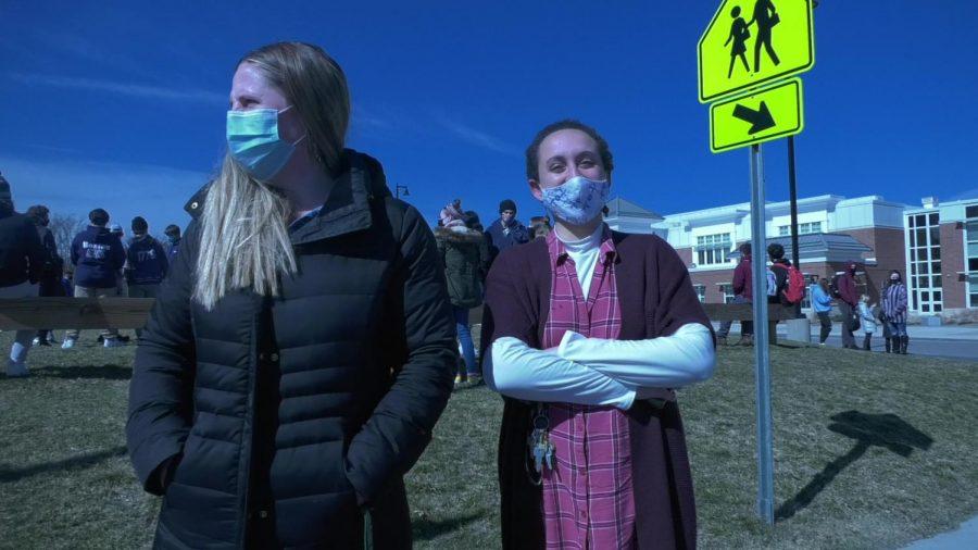 Math teacher Bridget Wakelin and English teacher Erin Slayton outside of the center field of Abington High School on Tuesday, March 16, 2021.