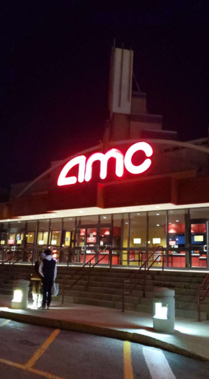 AMC Braintree Theatre as seen at night is located at 21 Grandview Road in Braintree, Mass.