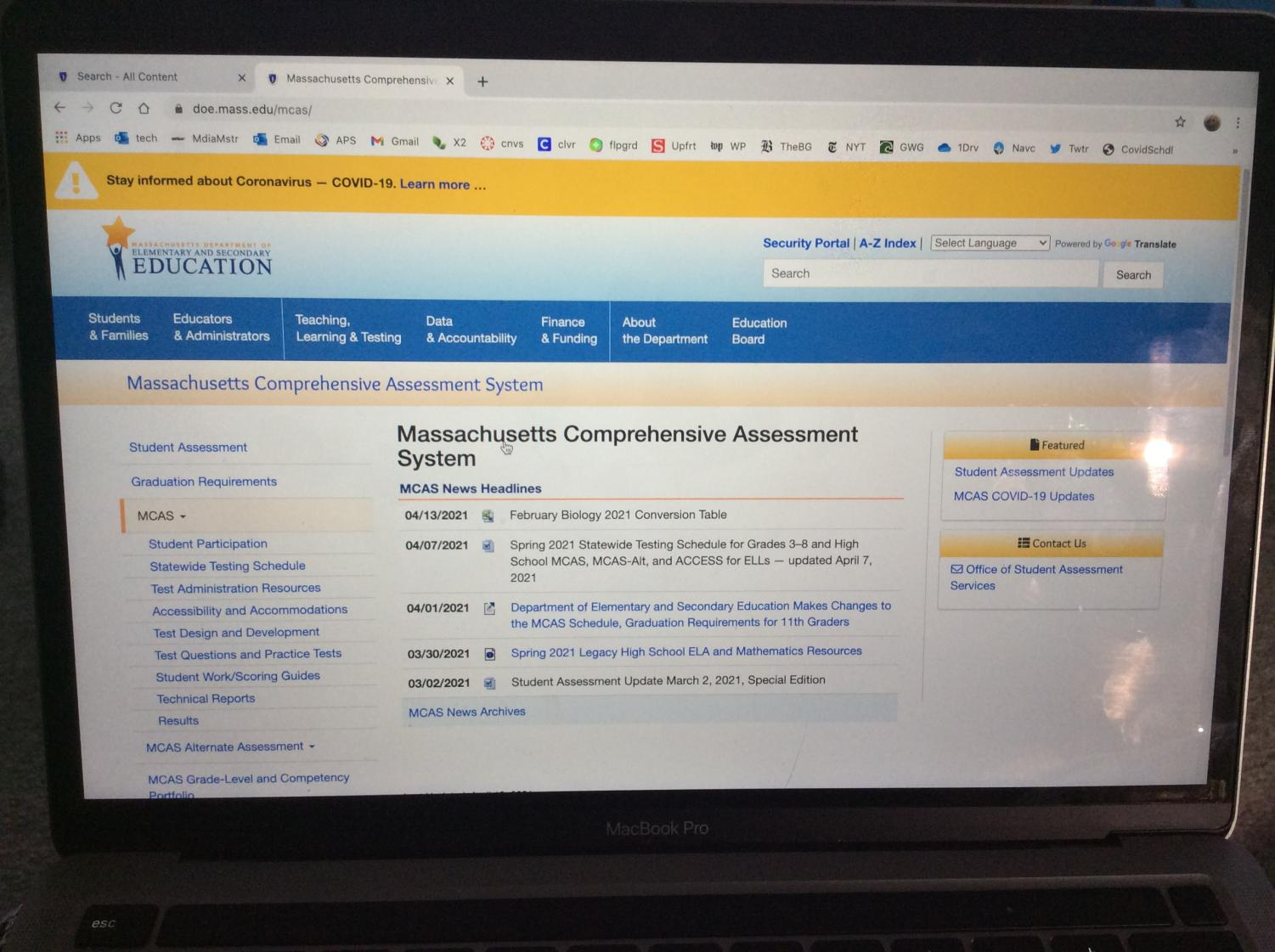 Massachusetts Department of Education and Secondary Education Testing page was updated in April of 2021 with news on the MCAS.