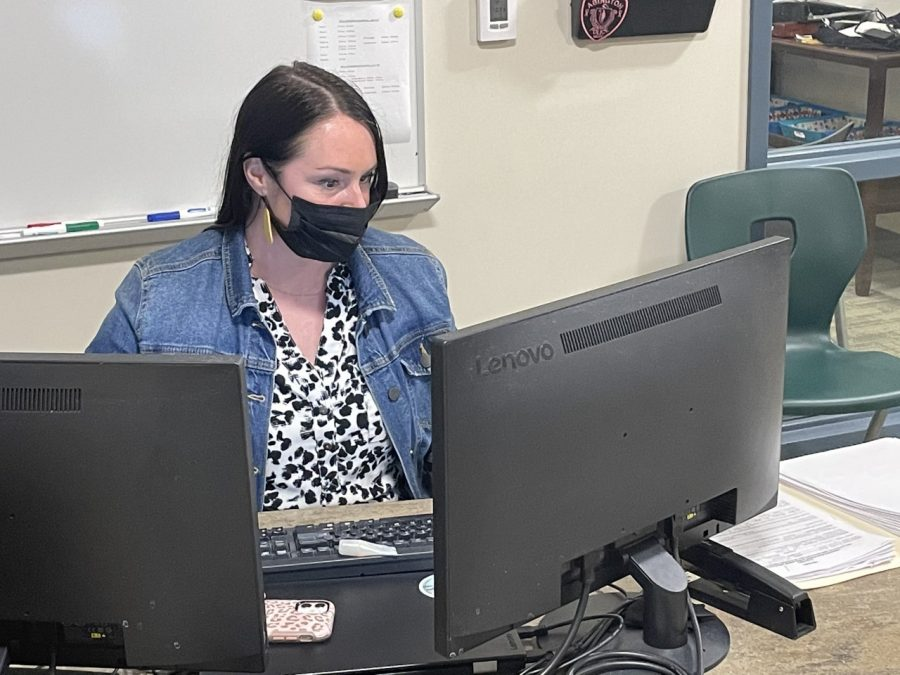 Ms. Danielle Gaylor, Abington High School Assistant Administrator of Guidance, in her office during the spring of 2021.