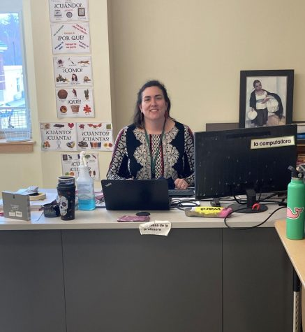 Mrs. Kathleen (McLaughlin) Ward, a Foreign Language teacher at Abington High School, as seen in her room 2206 on April 12, 2021. Ward is also an alumna of Abington High.