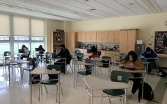 Abington High School students wrap up the week in a learning center on Friday, April 16, 2021.