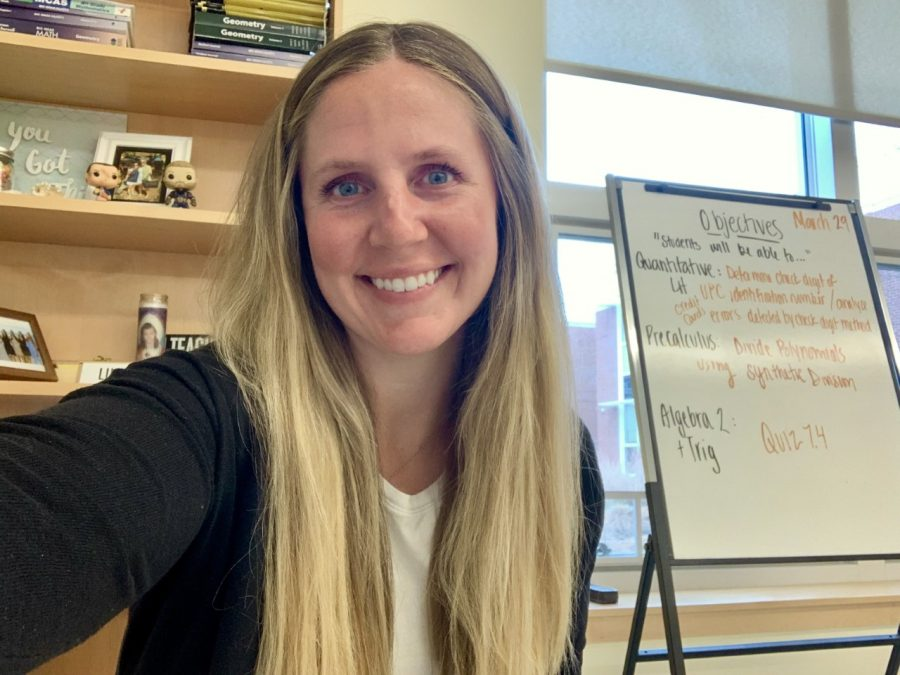 Abington High School alumna and Math teacher Ms. Bridget Wakelin in her classroom ready to greet her students on April 12, 2021. Wakelin is the new Varsity Tennis coach.