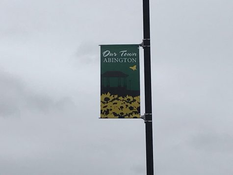 Against a chilly, overcast sky on Tuesday, April 13, 2021, , a sign of spring is seen on Gliniewicz Way in front of the Abington Middle-High School.