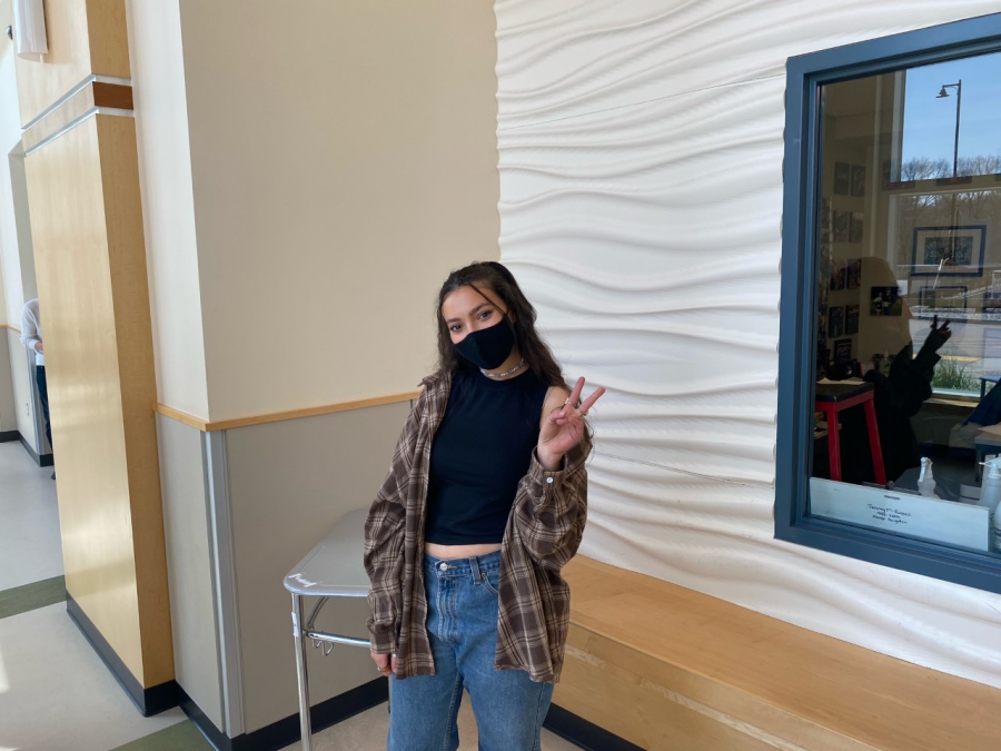 Junior, Sarah Naidjate throwing it back to the 90's with her outfit during lunch at Abington High School on Wednesday, April 28, 2021.