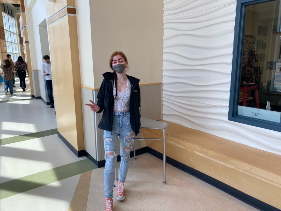 Senior, Kylie Zebrasky in her classic 70's hippie look during lunch at Abington High School on Wednesday, April 28, 2021.