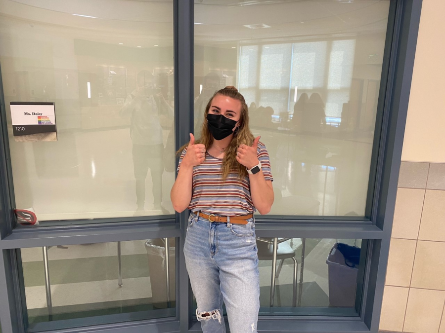 Isabella O' Connell sporting her 80's style outside Mrs. Daisy's room at Abington High School on Wednesday, April 28, 2021.