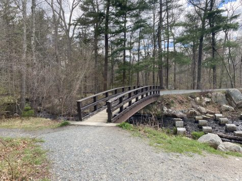 Below this bridge is a scenic waterfall, one of the many interests to see at Ames Nowell State Park in Abington, Mass. Friday, April 30, 2021.