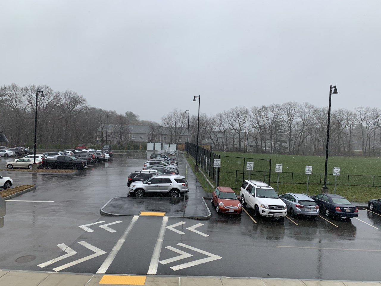 Winter returned on April 16, 2021 with light snow and sweeping rains seen outside of Abington High School.