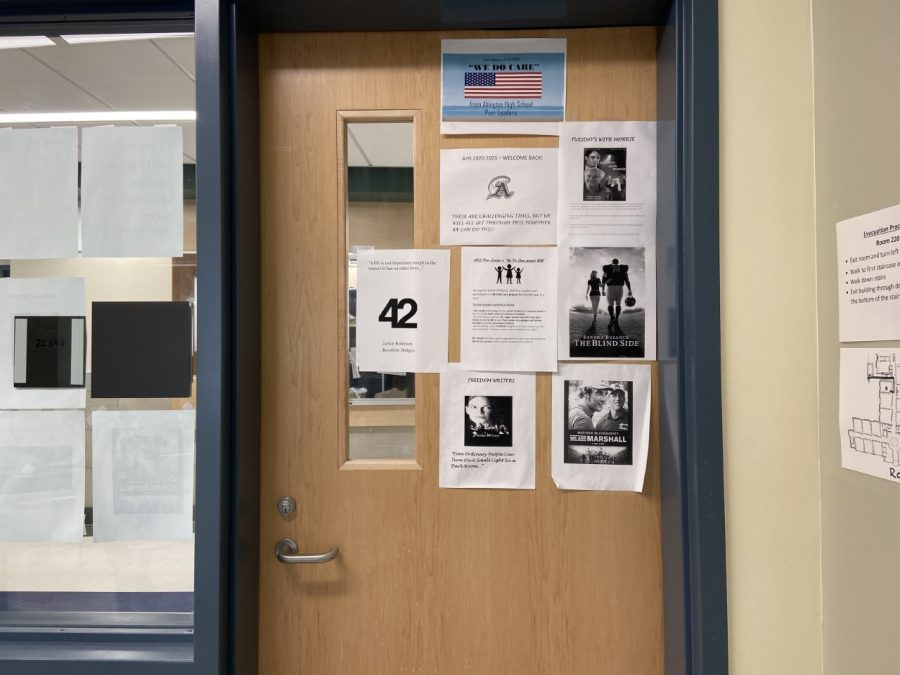 The door to Mr. Seigel's room at Abington High School reminds students of those who serve and how they can as well. May 21, 2021.