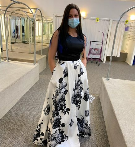 Senior Samantha Kelley in her junior prom dress. The junior prom was cancelled due to COVID-19 and will be held this June instead.