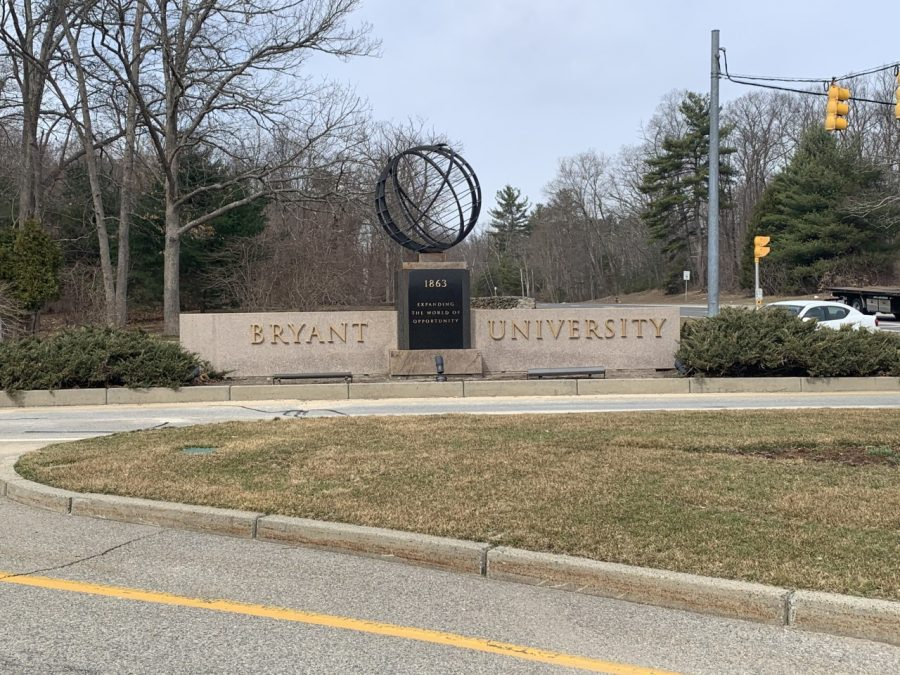 The entrance to Bryant University  in Smithfield, R.I. is right off the highway.