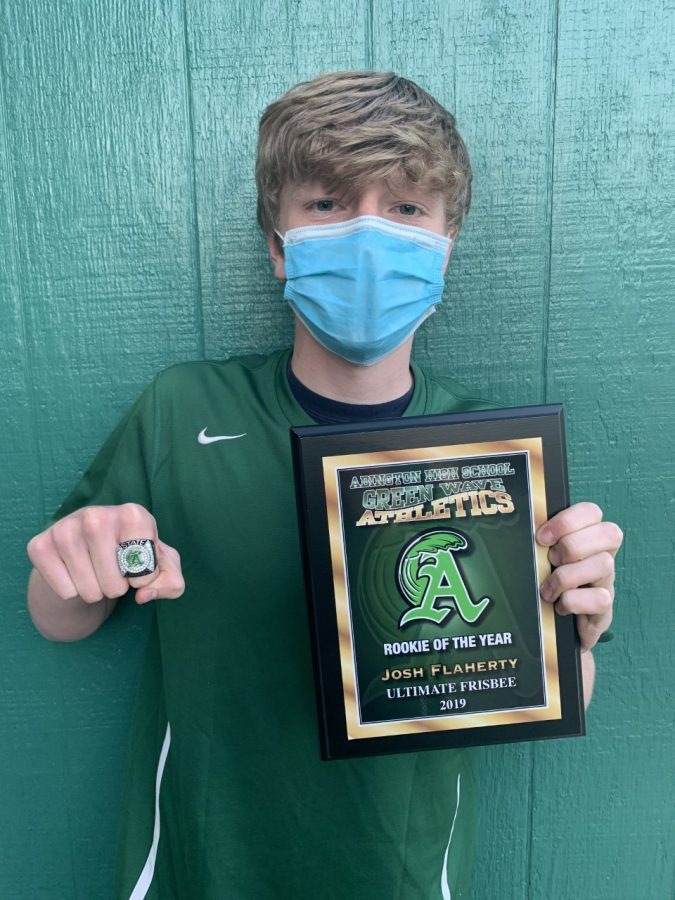 Abington High School junior Joshua Flaherty with this Rookie of the Year award for his work on the Ultimate team in 2019. Flaherty received his award in May of 2021 due to COVID cancellations.